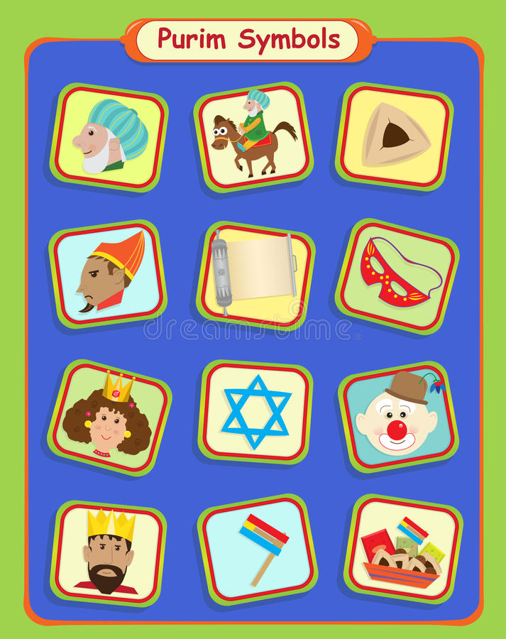 Symboles de Purim illustration stock