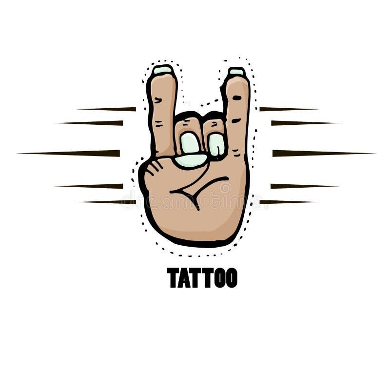 Symboles de rock Art de punk rock Illustration tir?e par la main de vecteur illustration de vecteur