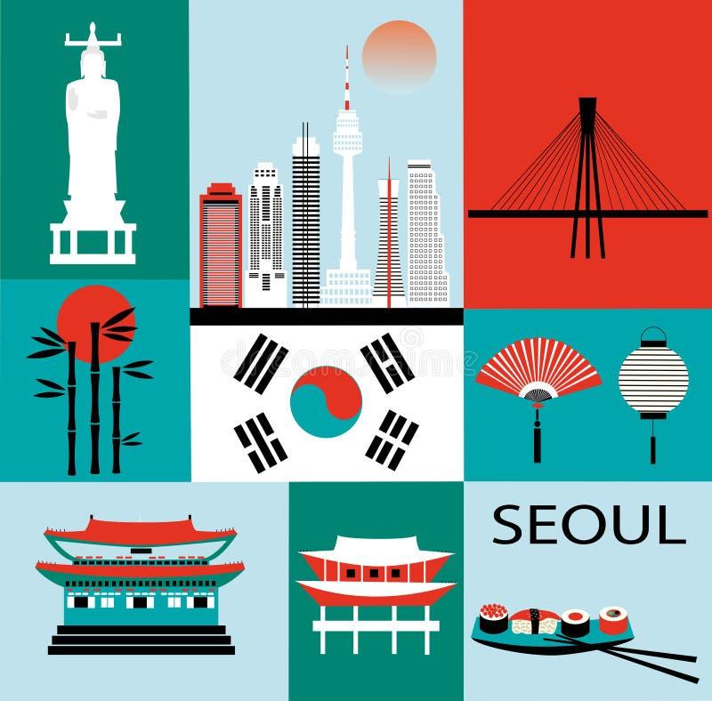 Symboles de Séoul illustration de vecteur