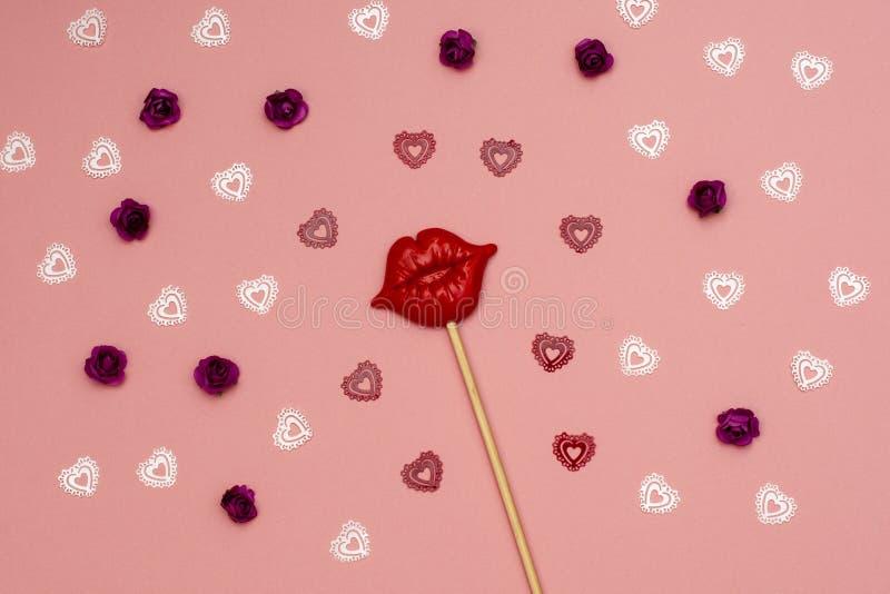 Symboles de Saint-Valentin - coeur, baiser, lèvres, roses photos stock