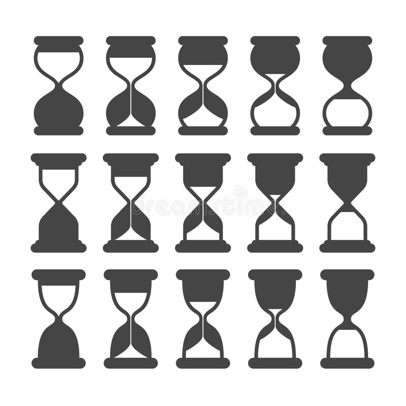 Symboles de silhouette d'horloge ou de minuterie de sable Rétro sablier, icônes noires expirées de vecteur d'isolement illustration stock