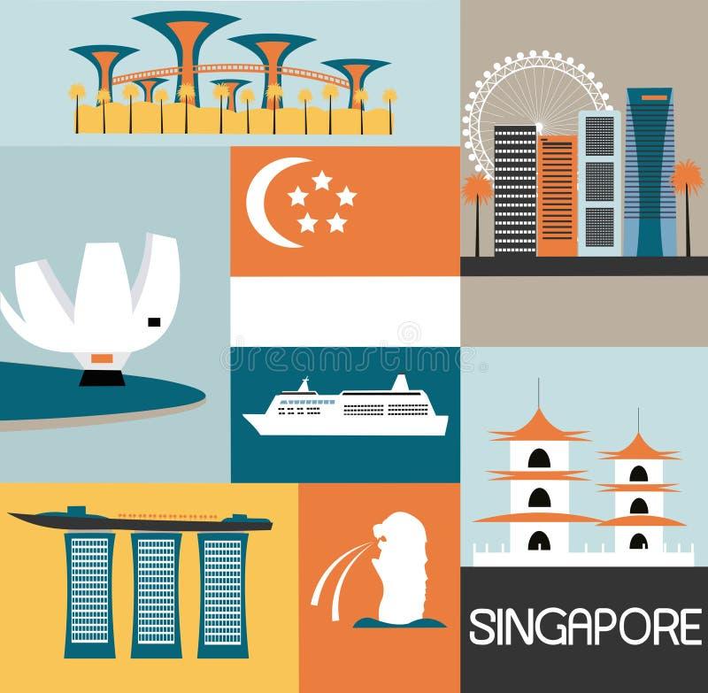 Symboles de Singapour illustration de vecteur