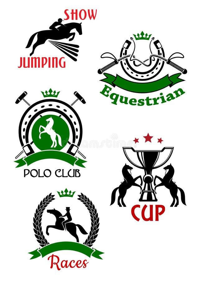 Symboles de sport équestre pour la conception de concours illustration stock