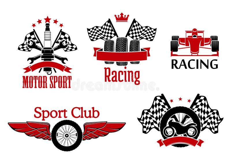 Symboles de sport mécanique pour la conception d'emballage automatique illustration stock