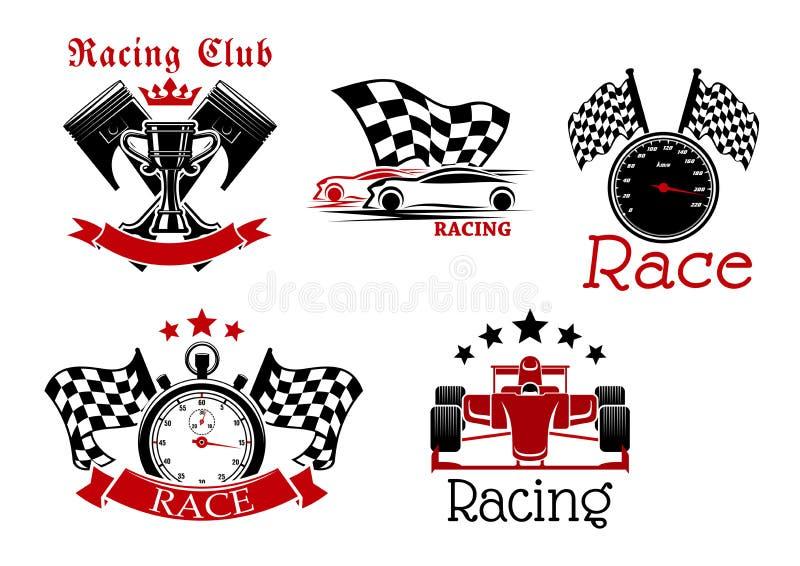 Symboles de sport mécanique pour la conception de compétition sportive illustration de vecteur