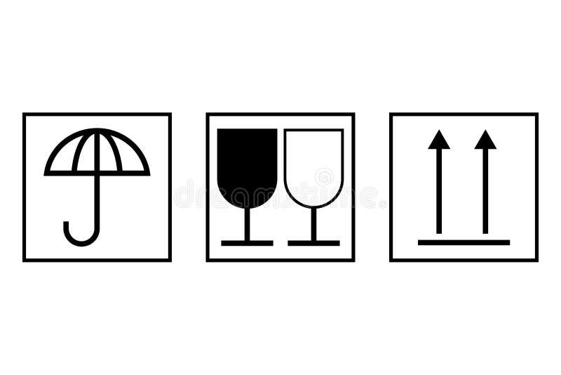 Symboles de transport de marchandises, d'isolement sur le blanc illustration libre de droits