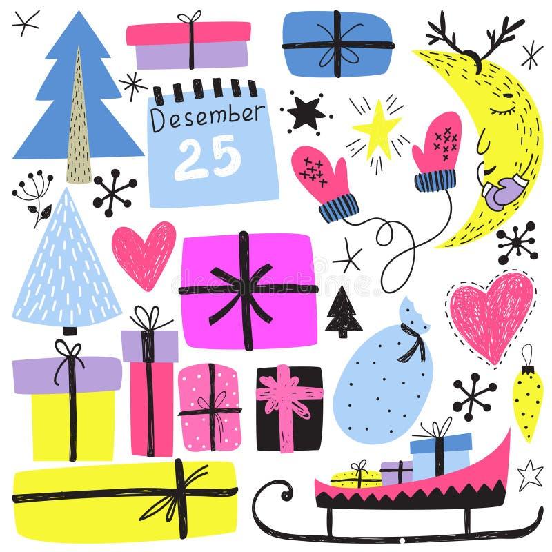 Symboles de vacances d'hiver de la nouvelle année s et du Noël illustration de vecteur