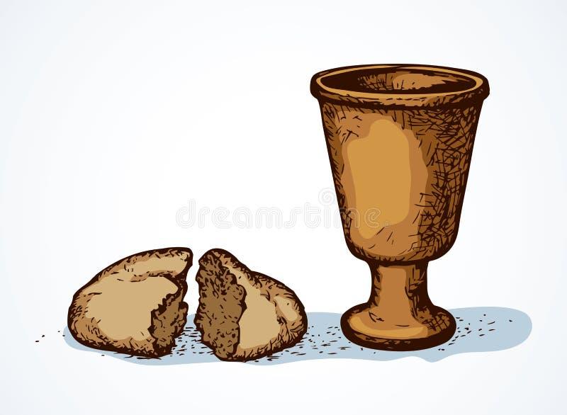 Symboles de vecteur de communion Pain et vin cass?s dans la cuvette illustration de vecteur
