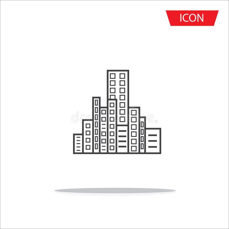 Symboles de ville d'icône de bâtiments images libres de droits