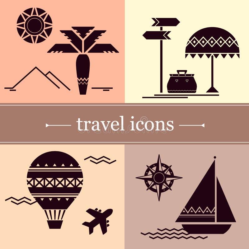 Symboles de voyage dans un style plat illustration stock