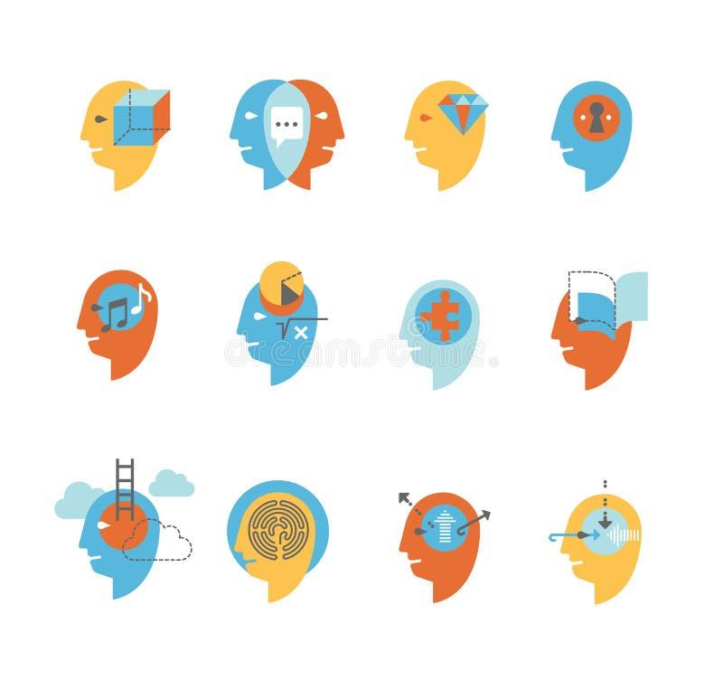 Symboles des états d'esprit humain illustration de vecteur