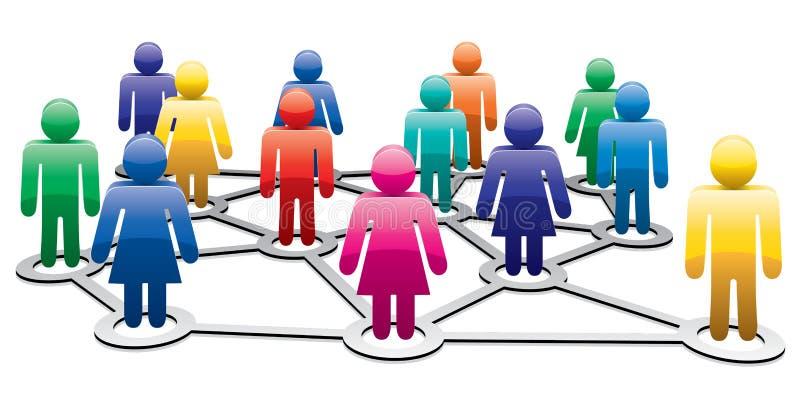 Symboles des hommes et des femmes formant le réseau illustration libre de droits