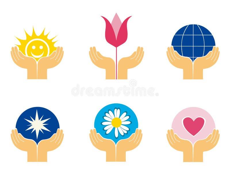 Symboles des mains retenant différentes choses