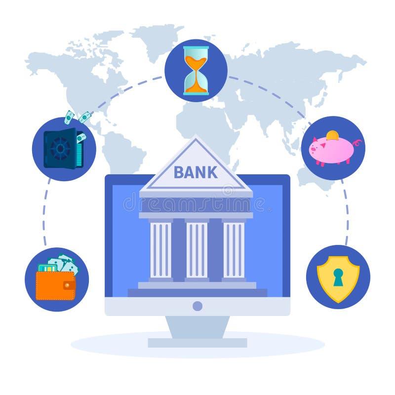 Symboles des transactions financières de paiement de Web en ligne, réseau bancaire mondial illustration libre de droits