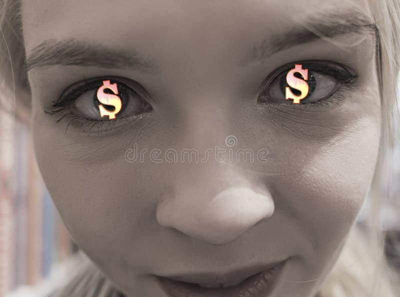 Symboles dollar rougeoyants d'or dans les yeux d'une jeune fille le concept de chasser l'argent et l'avidité photos libres de droits