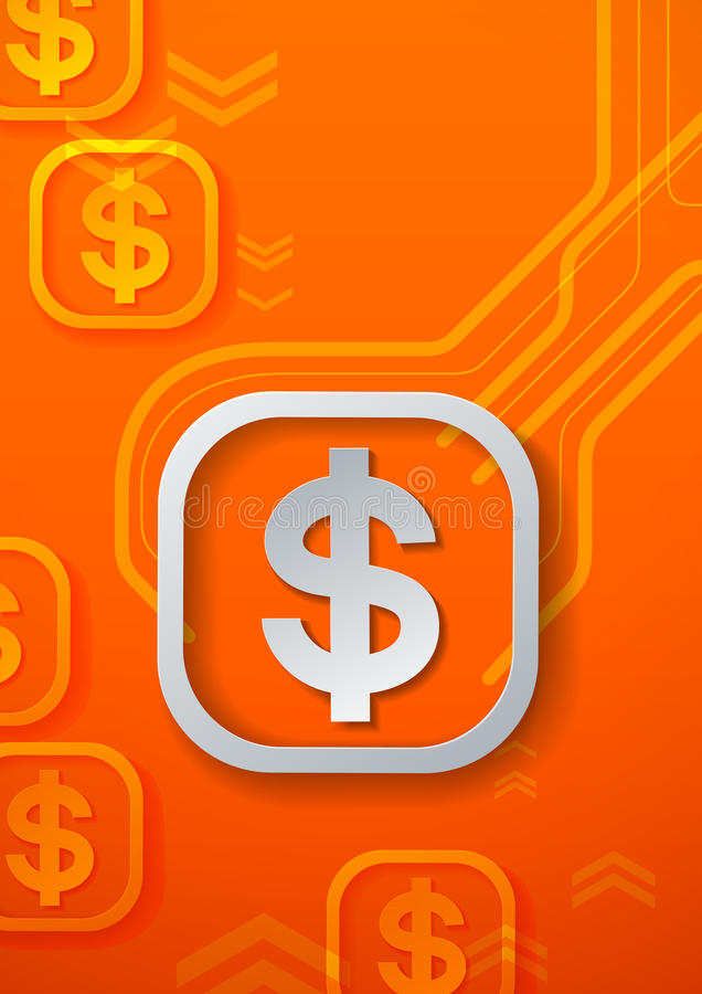 Symboles dollar sur le fond orange de technologie illustration de vecteur