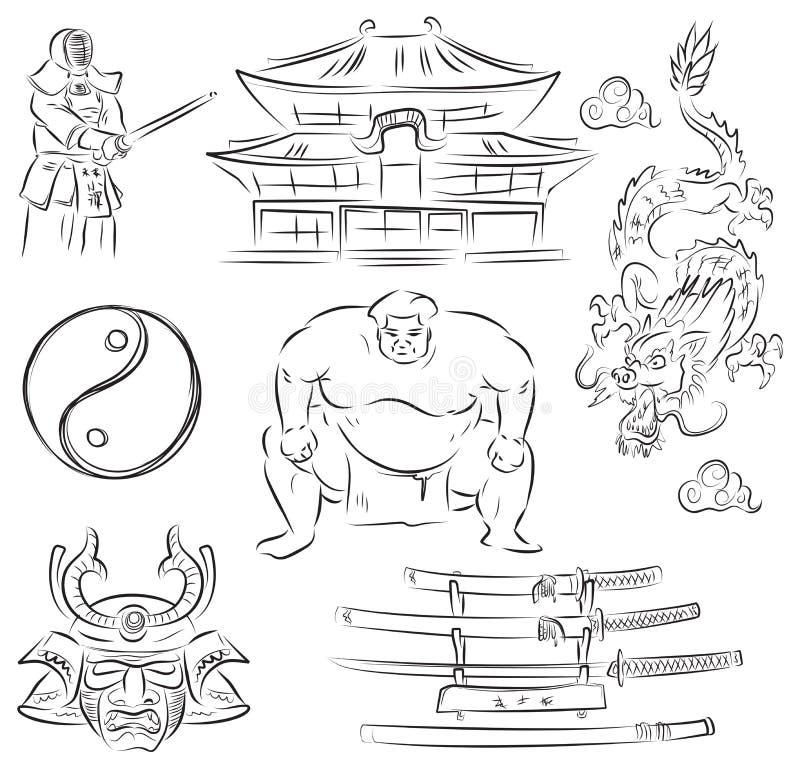 Symboles du Japon illustration stock