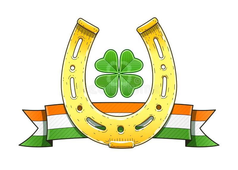 Symboles du jour de Patrick de saint horseshoe Indicateur shamrock illustration libre de droits