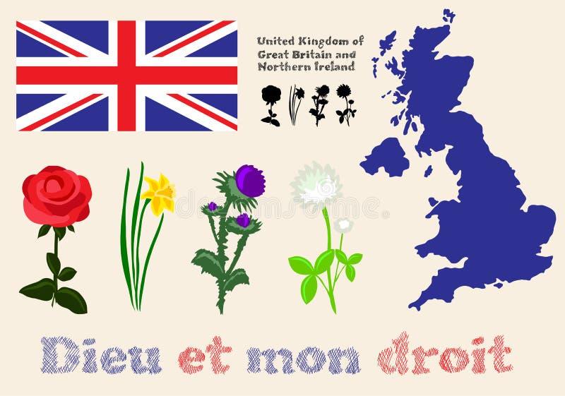 Symboles du Royaume-Uni de la Grande-Bretagne et du nord floraux illustration libre de droits
