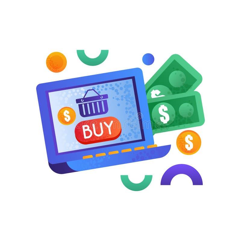 Symboles en ligne d'achats, argent et ordinateur portable, illustration de vecteur de concept de commerce électronique sur un fon illustration de vecteur