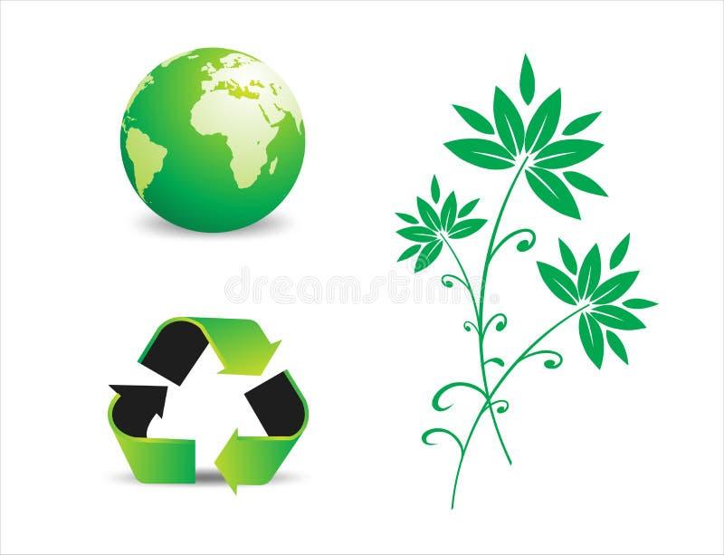 Symboles environnementaux d'économie illustration de vecteur