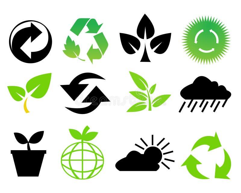 Symboles environnementaux d'économie illustration stock