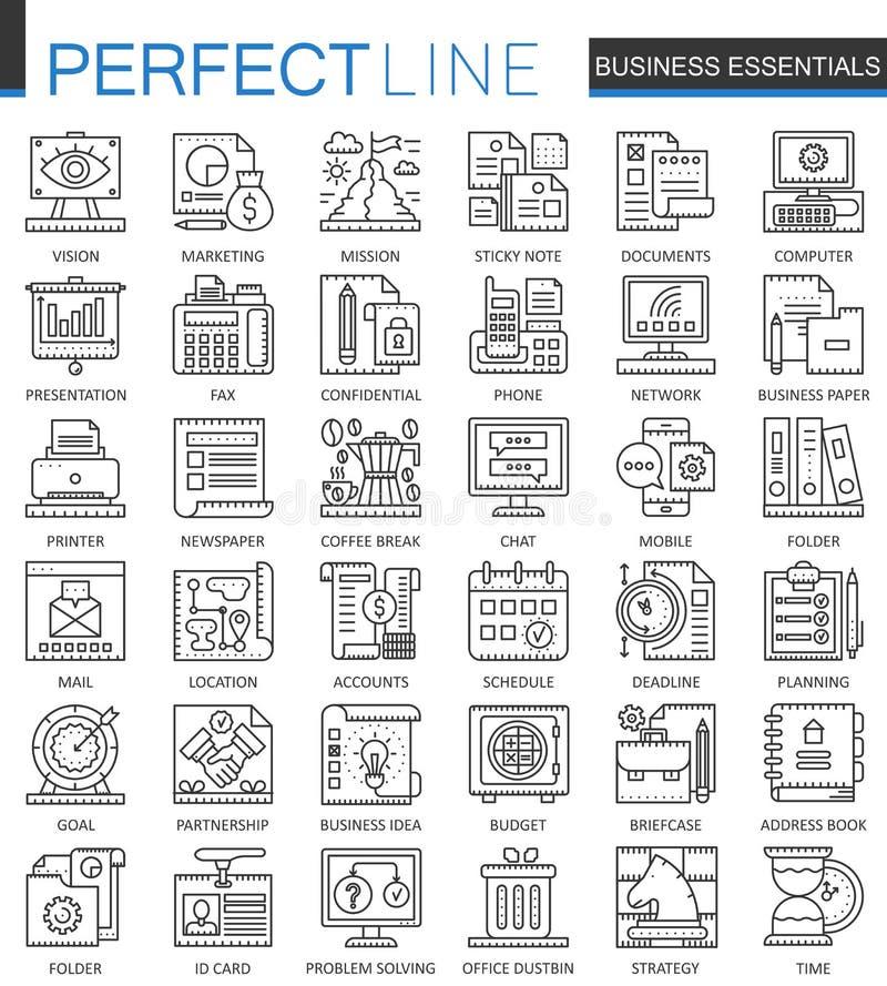 Symboles essentiels de concept d'ensemble d'affaires Ligne mince parfaite icônes de gestion de stratégie Style linéaire de course illustration libre de droits
