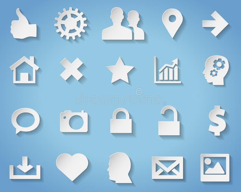 Symboles et icônes de papier avec l'ombre transparente illustration de vecteur