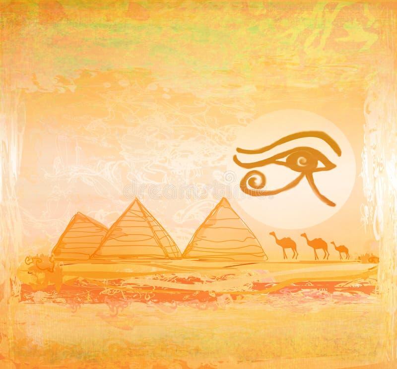 Symboles et pyramides de l'Egypte illustration de vecteur