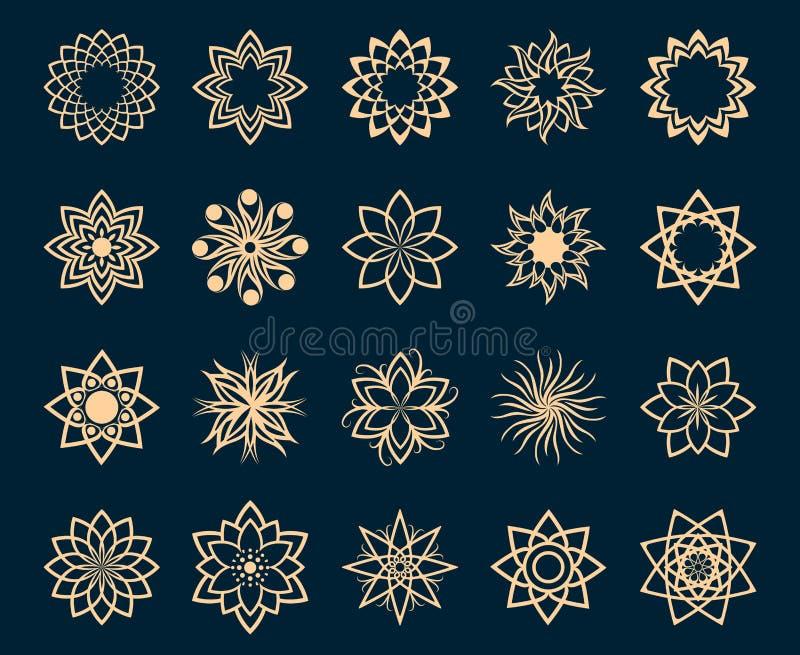 Symboles géométriques de lotus abstrait illustration stock
