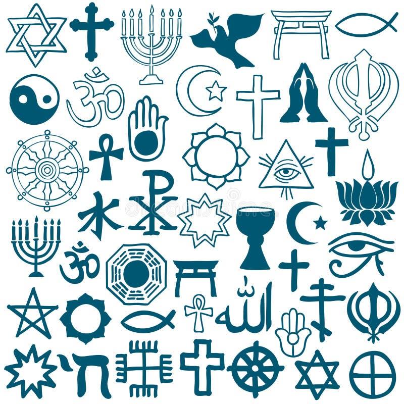 Symboles graphiques de différentes religions sur le blanc illustration stock