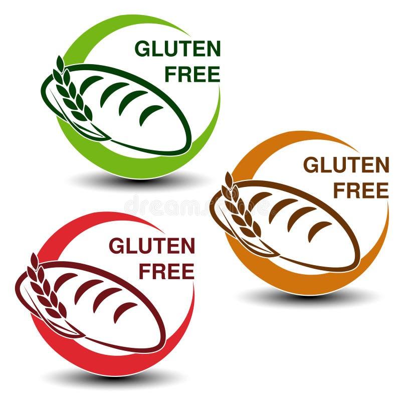 Symboles gratuits de gluten sur le fond blanc Icônes circulaires avec des silhouettes de pain avec l'épillet illustration libre de droits