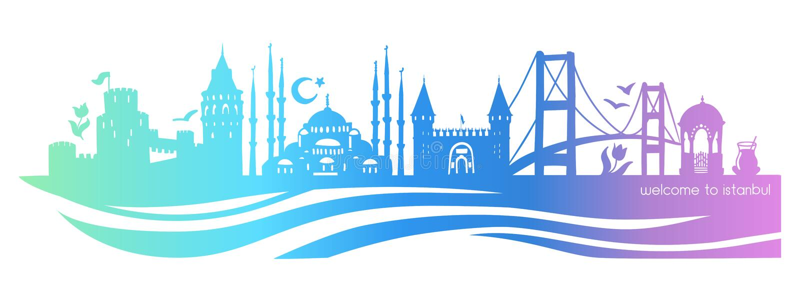 Symboles horizontaux d'Istanbul de bannière de gradient illustration stock