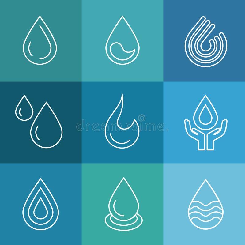 Symboles linéaires de vecteur de l'eau illustration de vecteur