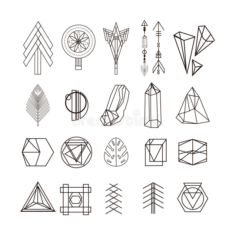Symboles linéaires, icônes et logotypes de hippie à la mode illustration stock