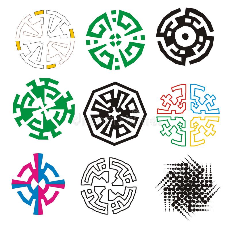 Symboles, logos et arabesques colorés illustration libre de droits