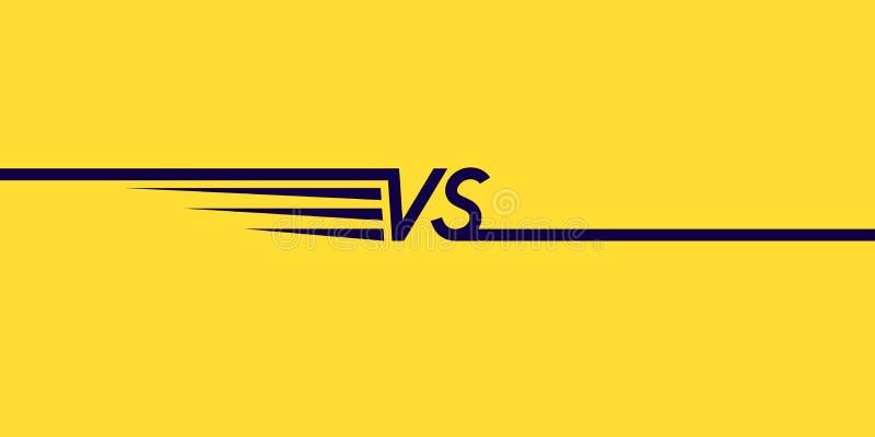 Symboles lumineux d'affiche de confrontation CONTRE Illustration de vecteur sur le fond jaune illustration stock