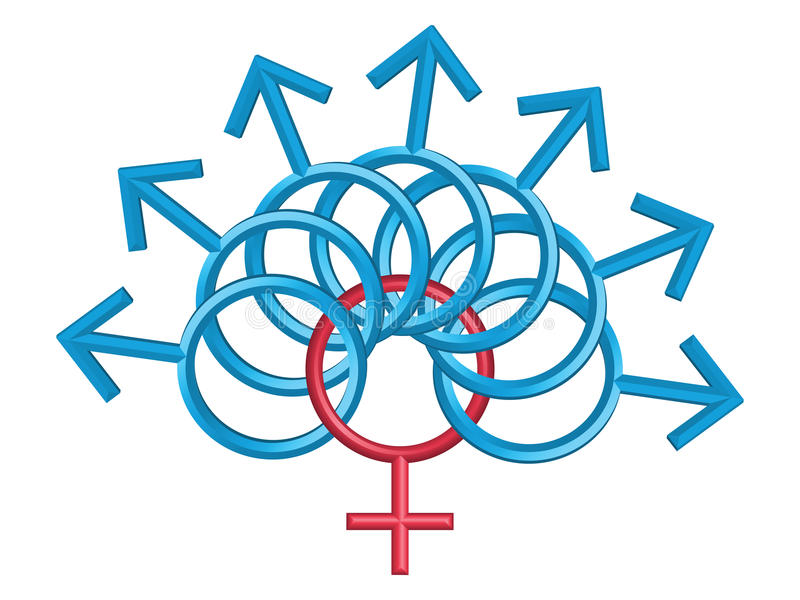 Symboles mâles et femelles, d'isolement sur le blanc illustration stock