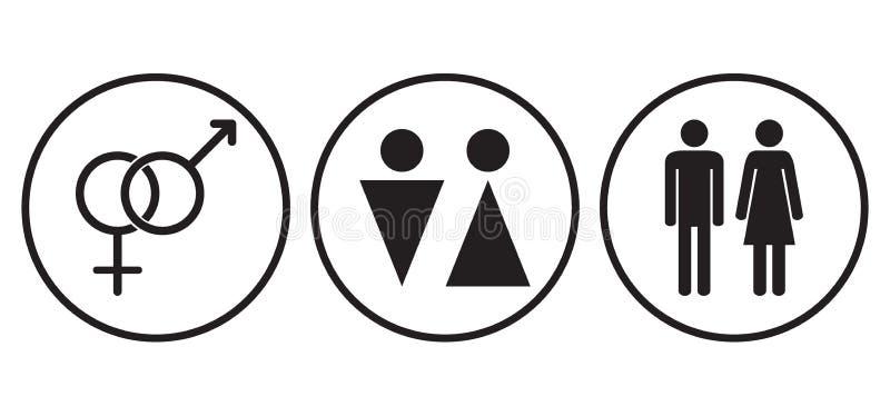 Symboles mâles et femelles de genre graphismes illustration libre de droits