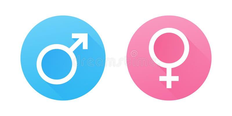 Symboles mâles et femelles de genre Icônes plates de vecteur de conception illustration libre de droits