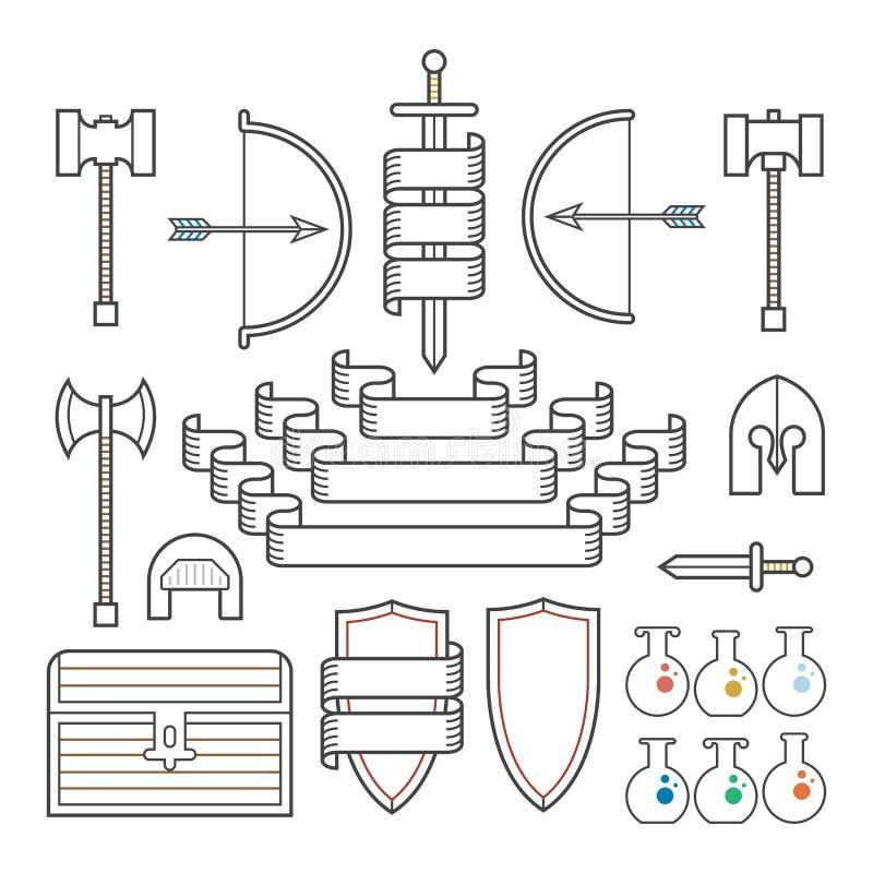 Symboles médiévaux et bannières illustration de vecteur