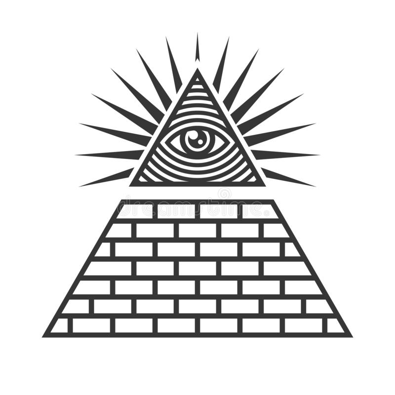 Symboles maçonniques d'Illuminati, oeil dans le signe de triangle Vecteur illustration de vecteur