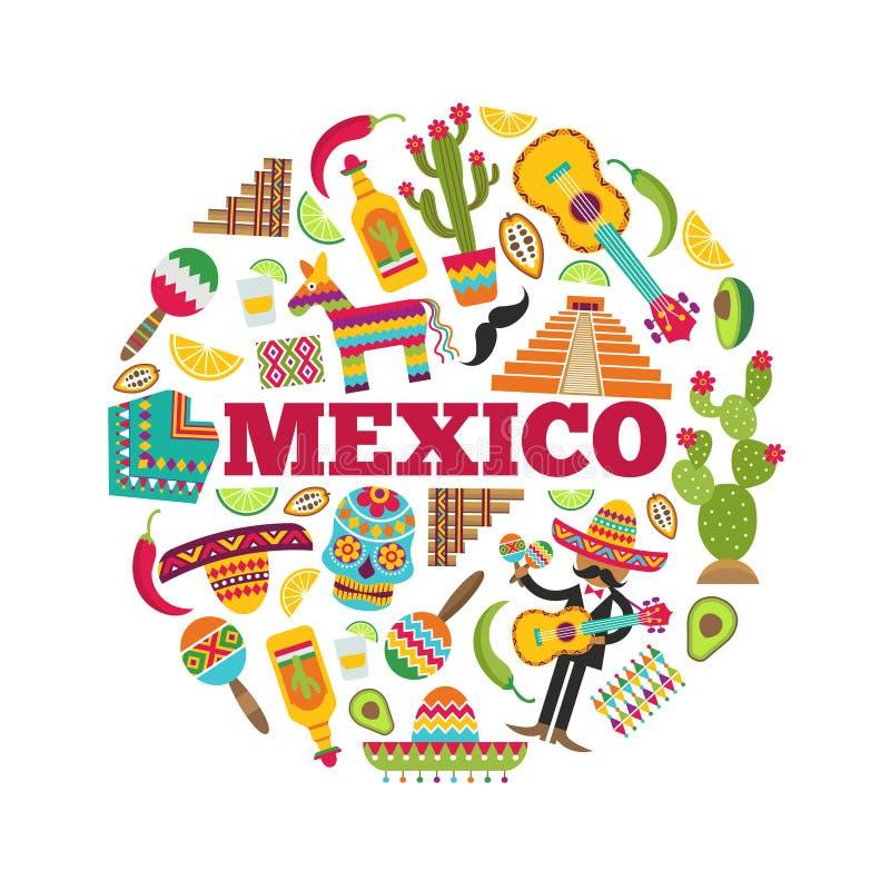 Symboles mexicains Entourez la forme avec de diverses photos colorées des icônes mexicaines illustration de vecteur