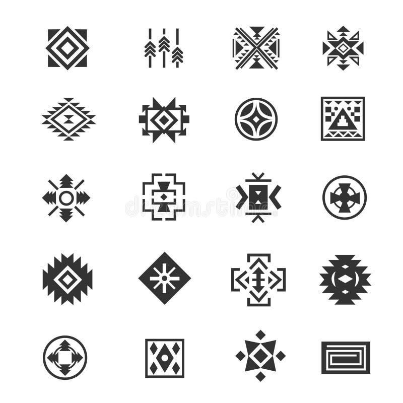 Symboles mexicains tribals traditionnels Icônes ethniques de tatouage de vecteur de culture de Navajo pour la copie illustration libre de droits