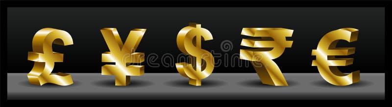 symboles monétaires 3D illustration libre de droits