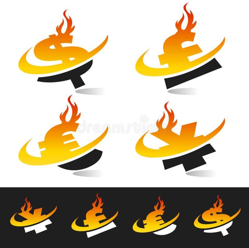 Symboles monétaires de flamme de Swoosh illustration libre de droits