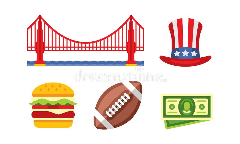 Symboles nationaux américains, golden gate bridge, chapeau d'Oncle Sam, hamburger, boule de football américain, vecteur de billet illustration stock