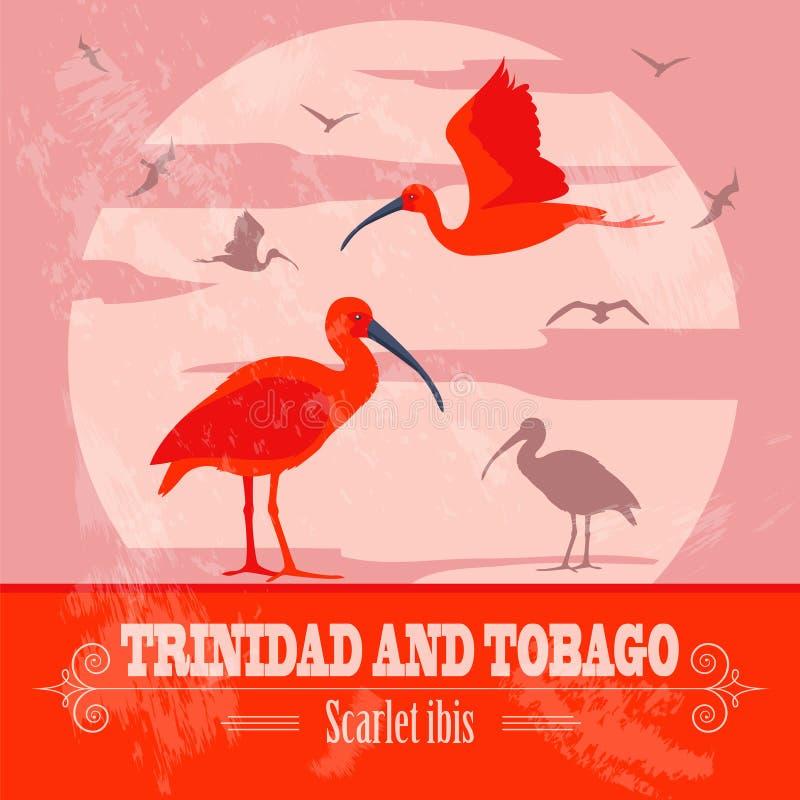 Symboles nationaux du Trinidad-et-Tobago Écarlate et x28 ; red& x29 ; IBIS rétro illustration stock