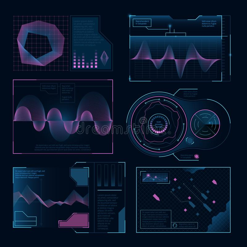 Symboles numériques modernes d'ui de Web Photos de vecteur réglées pour des projets de conception illustration stock