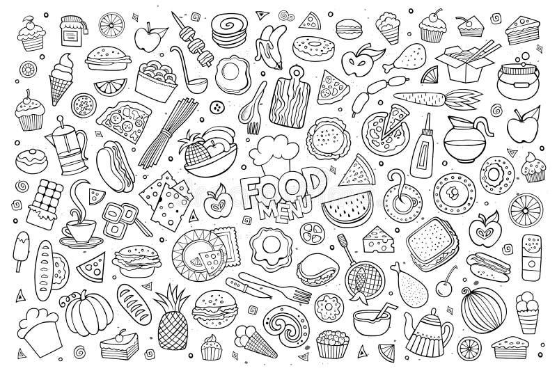 Symboles peu précis tirés par la main de vecteur de griffonnages de nourritures illustration de vecteur